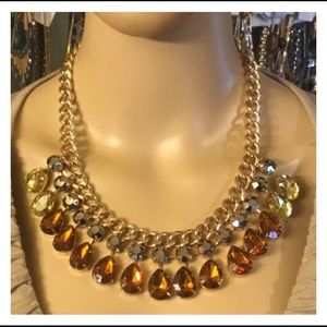 Neat Gem Gold Chain Statement Necklace